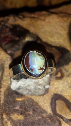 Boulder Opal Ring from Koroit in Queensland Australia size us 6 by ownanopal on Etsy