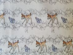 "Bambi Nursery Sweet--Bambi & Thumper Nursery Fabric--BTY x 43"" W This looks very light in color on the screen, but it is a very light yellow background. 