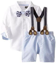 Mud Pie Baby Boys' Suspender Short Set, Chambray, 12 18 Months