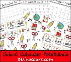 Free School Theme Calendar - 3 different types - 3Dinosaurs.com