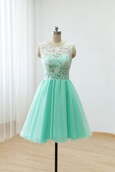 Cute Round neck lace tulle short green prom dress for teens, bridesmaid dress, lace cute homecoming dress