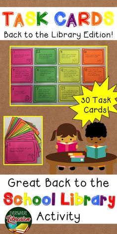 School Librarians - this is a great activity to use during the first few weeks of school. 30 Task Cards all about reading - get to know your students!