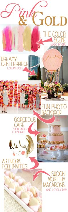 Pink & Gold Party Inspiration Board - love that little girl artwork for invites