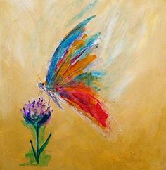 """Daily Painters Abstract Gallery: Abstract Butterfly Flower Art Painting """"Butterfly"""" by Colorado Abstract Artist Candace French (Cool Art Paintings)"""