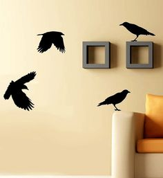 I want these and hang little jeweled earrings from their beaks b/c I am like a crow... Oooh, shiny thing!  Vinyl Wall Decals - Crows Wall Decal - Birds - SALE 20 Buckaroos