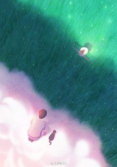 6번째 이미지 Korean Illustration, Couple Illustration, Illustration Art, Studio Ghibli Background, Cover Boy, Couple Painting, Cool Anime Guys, Diane, Girly Pictures