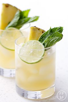 Mix up this pineapple mojito recipe for a fun and fruity drink that is a refreshing blend of agave, mint, lime juice, club soda, pineapple juice + spiced rum. Fruity Drinks, Summer Drinks, Alcoholic Drinks, Beverages, Drinks Alcohol, Frozen Drinks, Summer Fun, Cocktail Fruit, Cocktail Recipes
