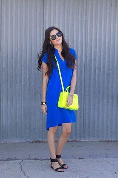 Cobalt dress, neon back, pop of color