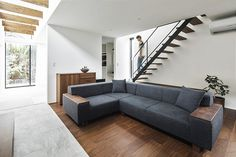 Modern single family house located in Shinga, Japan, designed in 2017 by Alts Design Office. Backyard House, Wood Sofa, Ground Floor Plan, Common Area, Building A House, House Design, Couch, Flooring, Interior Design