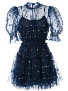 Indigo blue Cowboy Tears mini dress from alice McCALL featuring a layered design, sheer panels, a round neck, short sleeves and an a-line shape. Elegant Summer Outfits, Dresses Elegant, Classy Outfits, Pretty Dresses, Cute Outfits, Fashionable Outfits, Mini Dresses, Ball Dresses, Stage Outfits