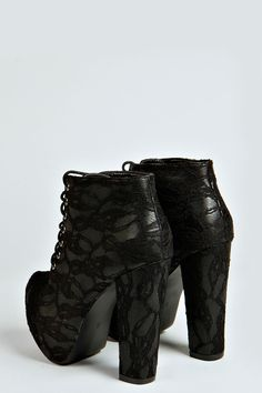 Lace Print Lace Up Boots
