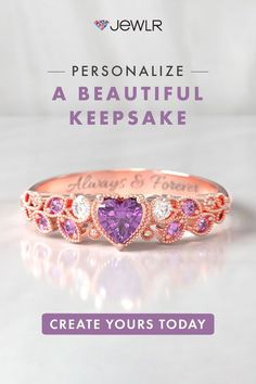 Inspired by nature, this gemstone ring sparkles with enchanting charm💕 Create yours today! Fine personalized jewelry handcrafted in🇺🇸🇨🇦 . Free shipping. 99-day returns. . . . . #Jewlr #PersonalizedJewelry #HeartRing #RoseGold #CustomRing #PromiseRing #GirlfriendGift Personalized Promise Rings, Personalized Jewelry, Gold Rings, Gemstone Rings, Handcrafted Jewelry, Heart Ring, Create Yourself, Wedding Rings, Rose Gold