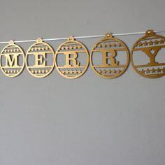 Laser Cut Merry Christmas Bauble Bunting
