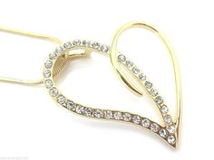 """Endless Love Gold Heart Crystal Pendant Necklace Gold Plated Woman's 18"""" #SensualGems #Pendant"""