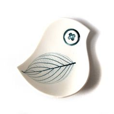 MId century modern style Blue bird bowl White porcelain Teal leaf imprint Unique handmade small ceramic dish for soap rings jewelry candles. $25.00, via Etsy.