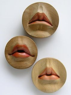'Rosebud Brooches' by jewelry artist Julia D. Harrison. Wood, lacquer, gauche, epoxy. via Taboo Studios