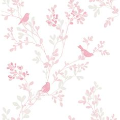 2704-22681 - Chirp Pink Birds and Trees Wallpaper - by Brewster ($120) ❤ liked on Polyvore featuring home, home decor, wallpaper, bird wallpaper, branch tree, branch wallpaper, pink tree and pink home decor