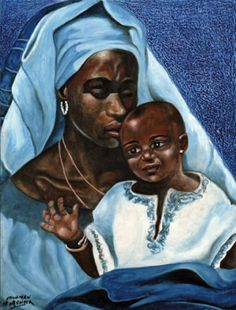African Madonna and Child Blessed Mother Mary, Blessed Virgin Mary, Catholic Art, Religious Art, Orishas Yoruba, Afrique Art, La Madone, Mary And Jesus, Black Mother