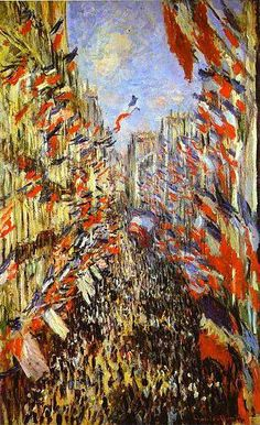 """Claude Monet The Rue Montorgueil, Paris Flags. The Rue Montorgueil was painted by Claude Monet on 30 June 1878 for a festival declared that year by the government celebrating """"peace and victory"""". Monet Paintings, Impressionist Paintings, Landscape Paintings, Claude Monet, Montorgueil Paris, Artist Monet, Bastille Day, Paris Bastille, Post Impressionism"""