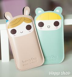 A kawaii smartphone pouch made of PU leather Kawaii Stuff, Cute Pattern, Pu Leather, Smartphone, Pouch, Phone Cases, Patterns, Pink, Blue