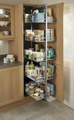 Kitchens - Standard Full-Height Pull-Out Larder Unit - Kitchens - Standard Full-Height Pull-Out Larder Unit - Kitchen Pantry Design, Diy Kitchen Storage, Modern Kitchen Cabinets, Kitchen Units, Modern Kitchen Design, Home Decor Kitchen, Interior Design Kitchen, Kitchen Furniture, Home Kitchens