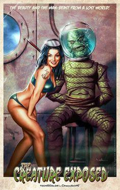 Creature from the Black Lagoon art - Carlos Valenzuela Disney Movie Posters, Old Movie Posters, Horror Comics, Horror Art, Arte Punk, Horror Monsters, Psy Art, Black Lagoon, Classic Monsters