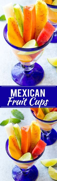 recipe for Mexican fruit cups is spears of tropical fruit, stacked in a glass and sprinkled with chile lime seasoning. A refreshing and unique take on fruit salad! Fruit Appetizers, Fruit Snacks, Fruit Recipes, Appetizers For Party, Mexican Food Recipes, Fruit Salads, Mexican Appetizers, Fruit Fruit, Party Snacks