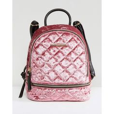 ALDO Adroiana Velvet Mini Backpack (4.245 RUB) ❤ liked on Polyvore featuring bags, backpacks, backpack, pink, miniature backpack, velvet backpacks, pink velvet backpack, aldo and quilted bag