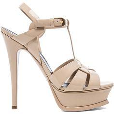 Saint Laurent ($875) ❤ liked on Polyvore featuring shoes, sandals, patent leather sandals, patent sandals, platform shoes, yves saint laurent sandals and yves saint laurent