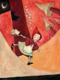 Little Red Riding Hood - Le petit Chaperon Rouge - Ofra Amit Little Red Ridding Hood, Red Riding Hood, Charles Perrault, Serpentina, Red Hood, Bad Wolf, Children's Book Illustration, Food Illustrations, Pablo Picasso