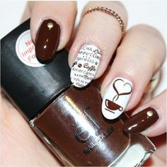 Brown coffee nail design