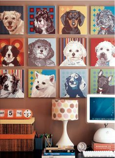 How wonderful is this dog art wall? If I owned a pet gift shop or a dog grooming place, I'd have a wall just like this!