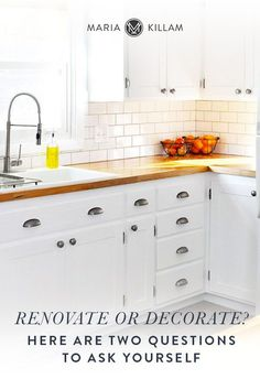 How do you know when you should renovate or decorate? If more than one space in your home needs an update, it can be hard to figure out where to begin. To help you make an easier decision, ask yourself two questions. Cottage Kitchen Cabinets, Cottage Kitchens, Farmhouse Style Kitchen, Kitchen Cabinet Design, Home Kitchens, Kitchen Hardware, Rustic Farmhouse, Cabinet Hardware, Rustic Kitchen
