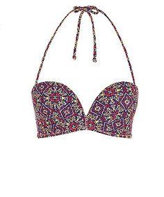 Multi Coloured Tile Print Extreme Push Up Bikini Top    New Look