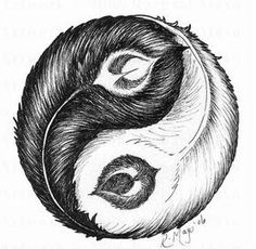Feather Ying Yang, my new tattoo..a message to myself to maintain balance in all things