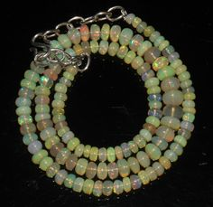 "61 Crts 1 Necklace 3to7mm 16"" Beads Natural Ethiopian Welo Fire  Opal  64905"