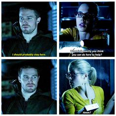 "Arrow - 2x14 Time Of Death - Oliver & Felicity  #Olicity - ""What is it exactly you think you can do here to help?  Hmm?"""