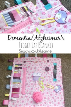 The BEST Alzheimer's/Dementia Fidget Lap Blanket EVER... so Pretty and full of exciting things to do and see. Pin now and Save for Later.... These would make excellent Xmas gifts too :)