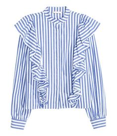 Blue/striped. Blouse in woven cotton fabric with a small stand-up collar…