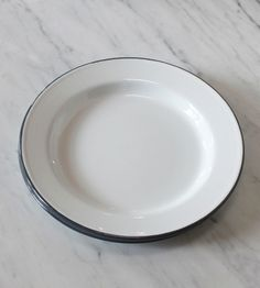 Enamelware plates, white with grey rim - casual enough for everyday use, elegant enough for entertaining