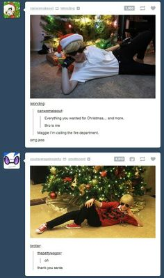 Dirk and Dave from homestuck<< what would you do if one of them was under your tree? i think i'd just hug him forever