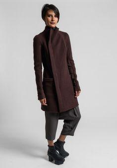 Rick Owens Cashmere Zipped Eileen Coat in Macassar