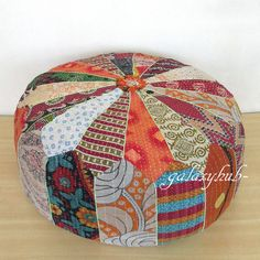 Large Vintage Pouf Cover Patchwork Ottoman Stool Indian Village Decorative Throw
