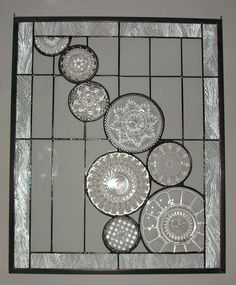 Glass panels made of old saucers!  Super idea   Days at Buttermilk Cottage