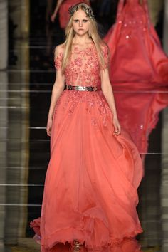 Floaty skirt, romantic lace, and a interesting contrast with the metal belt... ~Zuhair Murad Spring 2016 Couture Fashion Show