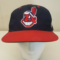 eeaeb99fe7d Cleveland Indians Baseball Cap Hat Chief Wahoo Red Navy Logo One Size  Vintage  GenuineMerchandise