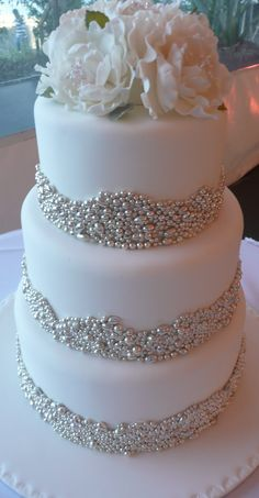 elegant wedding cake with bling and pearls | Cakes by JudyC