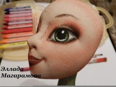 Painting and toning faces of dolls with acrylic paint and oil based pastels