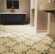 Green Majadas on the bathroom floor. Bert and May does it again with these beautifully handmade Spanish tiles Bathroom Floor Tiles, Kitchen Tile, Tile Floor, Moroccan Bathroom, Floor Layout, Spanish Tile, Clawfoot Bathtub, House, Tile Ideas