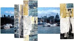 {SANDRA MEECH :: Poster Wall - London} Painted and photographically transferred images are machine quilted.